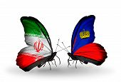Two Butterflies With Flags On Wings As Symbol Of Relations Iran And Liechtenstein