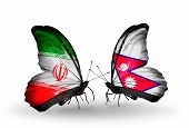 Two Butterflies With Flags On Wings As Symbol Of Relations Iran And Nepal