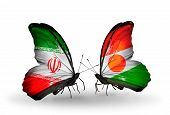 Two Butterflies With Flags On Wings As Symbol Of Relations Iran And Niger