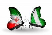 Two Butterflies With Flags On Wings As Symbol Of Relations Iran And Nigeria