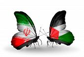 Two Butterflies With Flags On Wings As Symbol Of Relations Iran And Palestine