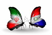 Two Butterflies With Flags On Wings As Symbol Of Relations Iran And Paraguay