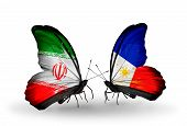 Two Butterflies With Flags On Wings As Symbol Of Relations Iran And Philippines