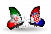 Two Butterflies With Flags On Wings As Symbol Of Relations Iran And Croatia