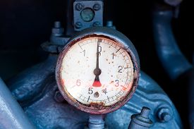 stock photo of barometer  - Vintage barometer and fire protection system in the truck - JPG