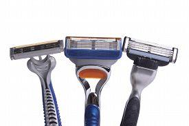 stock photo of shaved head  - shaving razor isolated on a white background - JPG