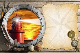 stock photo of anchor  - Porthole with lighthouse at sunset anchor seashells penknives parchment with compass rose and compass on wooden background with sand - JPG