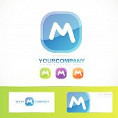 picture of letter m  - Vector logo element template of blue letter M button alphabet - JPG