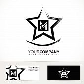 picture of letter m  - Vector company logo element template of grunge star letter M alphabet - JPG