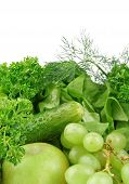 pic of assemblage  - Group of green vegetables and fruits on white background - JPG