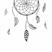 image of dreamcatcher  - Vector hand drawn Dreamcatcher - JPG