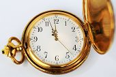 picture of time machine  - Antique golden pocket watch isolated on white background - JPG