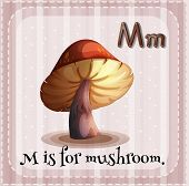 picture of letter m  - Flashcard letter M is for mushroom - JPG
