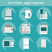 pic of kitchen appliance  - Big set  modern flat design icons of kitchen appliances with long shadow - JPG
