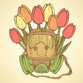 picture of respiratory  - Sketch respiratory mask with tulips in vintage style vector - JPG