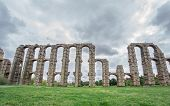 image of aqueduct  - Aqueduct of the Miracles in Merida, Spain. Front view