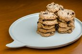 image of chocolate-chip  - Chocolate chip cookies  on wood table  - JPG