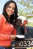 pic of mailbox  - Hispanic Woman Checking Mailbox - JPG