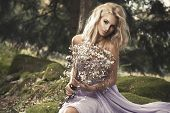 image of natural blonde  - Cute blonde sexy woman in nature scenery - JPG