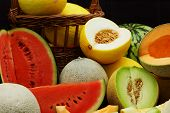 pic of muskmelon  - Fresh organic melons on a black background - JPG
