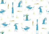 pic of hare  - Hare or rabbit baby animals backdrop illustration - JPG