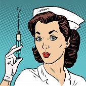 picture of epidemic  - Retro nurse gives an injection syringe medicine health medicine - JPG