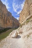 stock photo of bend  - Trail into Santa Elena Canyon in Big Bend National Park in Texas - JPG
