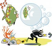 Fish with bubbles cartoon