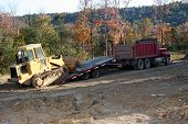 stock photo of 18 wheeler  - dump truck trailer and industrial machine  - JPG