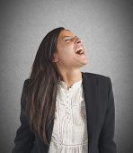 picture of scream  - Crazy businesswoman stressed out from work screams - JPG