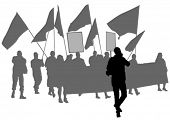 image of anarchists  - People of with large flags on white background - JPG