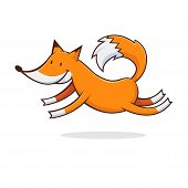 picture of legs air  - Vector illustration of a cute fox jumping in the air - JPG