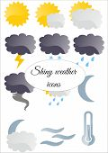 image of cloudy  - A set of 12 shiny weather icons  - JPG