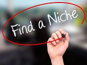 pic of niche  - Man Hand writing Find a Niche with marker on transparent wipe board - JPG