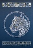 image of panther  - Beautiful dotwork snow leopard panther cat with ornament on blue background - JPG