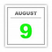 stock photo of august calendar  - August 9 - JPG