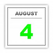 stock photo of august calendar  - August 4 - JPG