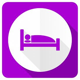 picture of flat-bed  - hotel pink flat icon bed sign  - JPG