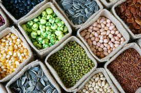 stock photo of seed  - Collection of grain cereal seed bean agriculture product of Asia countries is healthy food nutrition eating and fibre food - JPG