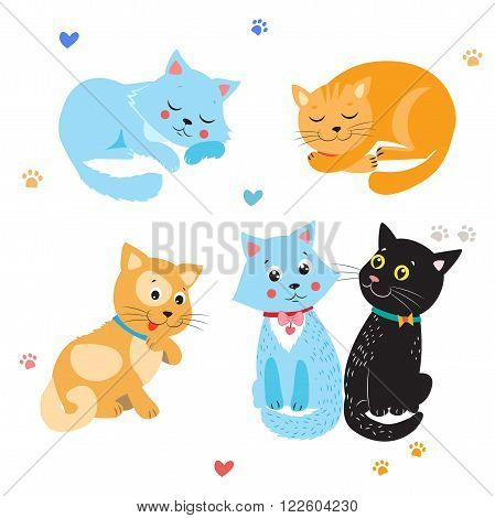 poster of Cartoon Cute Cats Vector. Set Of Various Cute Cats. Kittens On White Background. Sleeping Cat. Sitting Cat. Cute Cats For Sale. Cute Cats Stickers. Cute Cats And Kittens. Cute Cats Compilation.