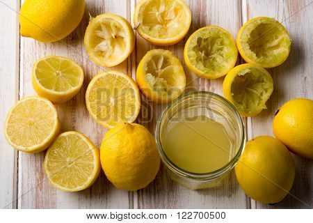 Glass Of Lemon Juice With Lemons