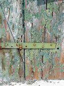 Flaky paint on old wooden door in Venice, Italy.