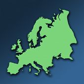 Green outline map of Europe on graduated blue background. Shadow effect added. poster