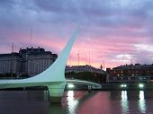 Puente De Las Mujeres, The Bridge Of Women, At Puerto Madero In Buenos Aires Argentina At Sunset.