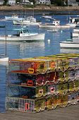 stock photo of lobster trap  - brightly colored lobster traps and harbor view mount desert island acadia national park bernard maine