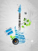 picture of stratocaster  - abstract grunge guitar in the style of graffiti - JPG