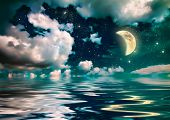 wonderful moonlight in ocean at night