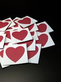 Red Hearts On Cards