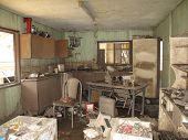 picture of flood  - A flood damaged kitchen in Queensland - JPG