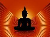 foto of budha  - Black buddha silhouette incl - JPG